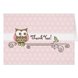 El búho rosado le agradece cardar tarjeta de felicitación