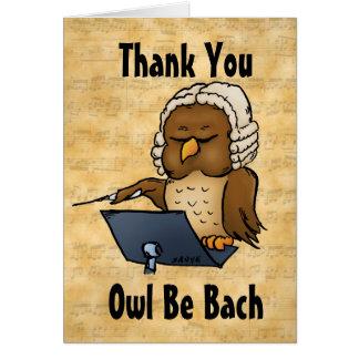 El búho sea Bach divertido le agradece tarjeta de