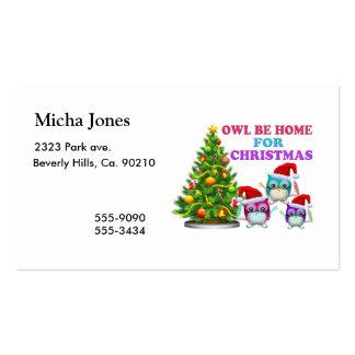 El búho sea casero para el navidad tarjeta personal