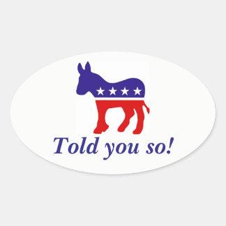 el burro oval de Demócrata de la pegatina para el