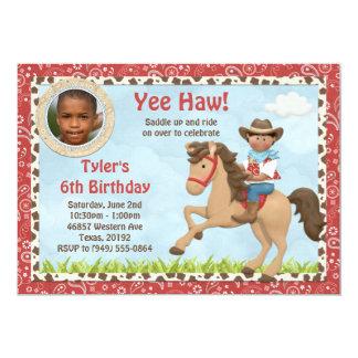 El caballo afroamericano del vaquero embroma a la invitación 12,7 x 17,8 cm