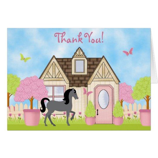 El caballo bonito del jardín le agradece las tarjeta pequeña