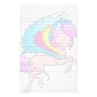 El caballo con alas rosa se va volando amarillo y papelería