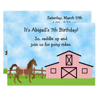El caballo de Brown, potro rosado del granero Invitación 12,7 X 17,8 Cm