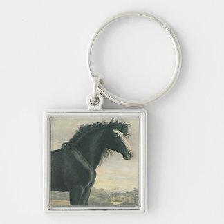 El caballo de proyecto antiguo del negro del llavero cuadrado plateado