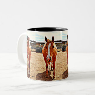 El caballo dos del Palomino entonó la taza de café