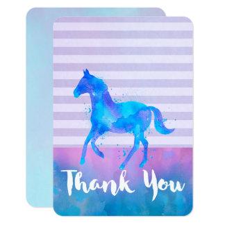 El caballo salvaje en acuarela azul y púrpura le invitación 8,9 x 12,7 cm