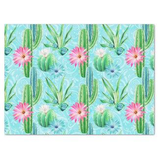 El cactus florece el succulent rosado del verde papel de seda
