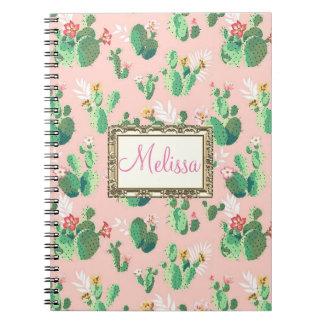 El cactus rosado personalizado florece cuaderno