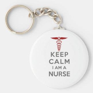 El caduceo rojo guarda calma que soy enfermera llavero
