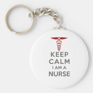 El caduceo rojo guarda calma que soy enfermera llavero redondo tipo chapa