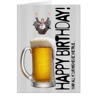 El caer en cerveza tarjeta de felicitación