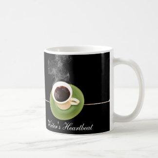 El café es un latido del corazón de los escritores taza de café