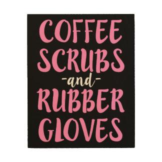 El café friega y el arte de goma de madera del RN