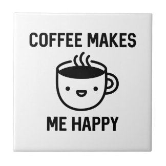 El café me hace feliz azulejo
