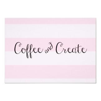 El café y crea la invitación rayada rosada