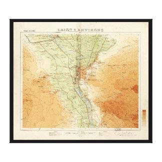 El Cairo y alrededores, mapa de Egipto (1925) Impresión En Lienzo