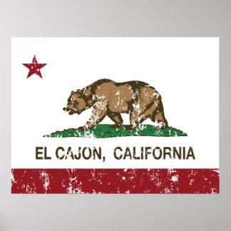 EL Cajon de la bandera del estado de California Póster
