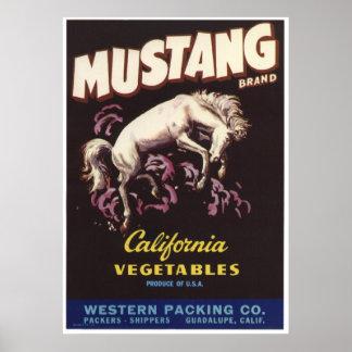 El cajón viejo de las verduras del mustango del vi posters