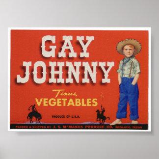 El cajón viejo de las verduras del vintage gay de  poster