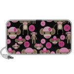 El calcetín rosado femenino lindo Monkeys a chicas iPod Altavoces