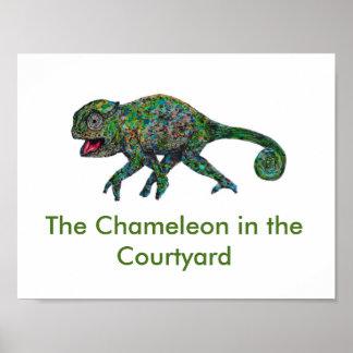 El camaleón en el poster del patio