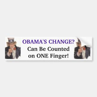 ¡El cambio de Obama - puede ser contado en UN dedo Pegatina Para Coche