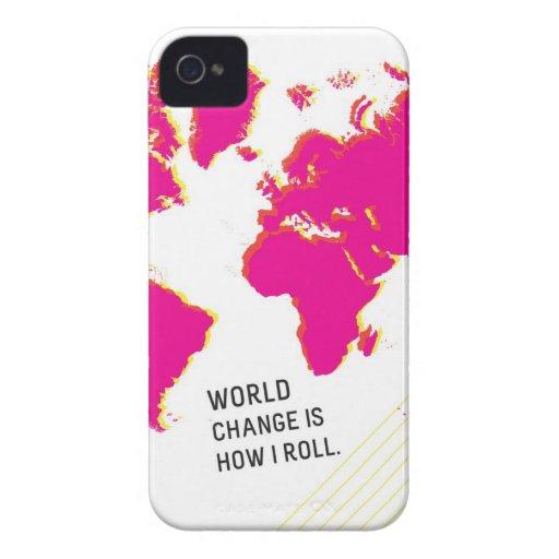 El cambio del mundo es cómo ruedo (rosa y el blanc iPhone 4 Case-Mate cárcasas