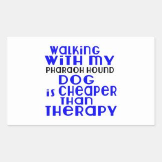 El caminar con mis diseños del perro de caza del pegatina rectangular