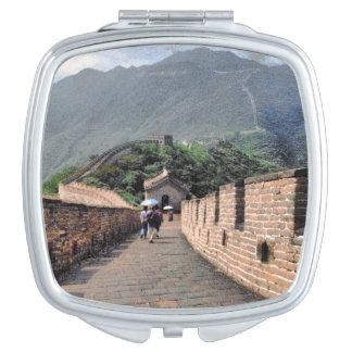 El caminar en la Gran Muralla de China Espejo Compacto