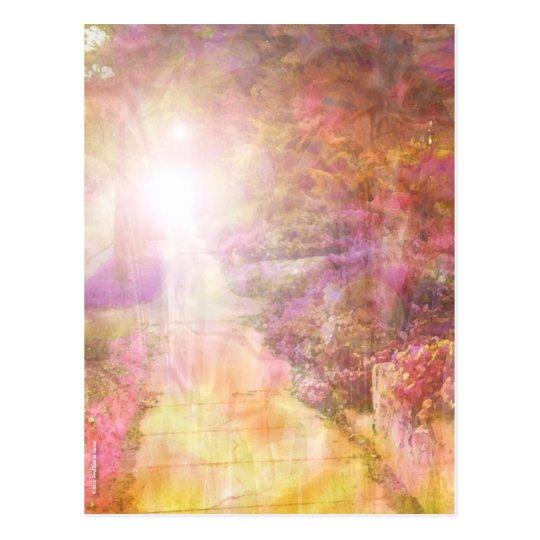 El caminar en la postal colorida ligera