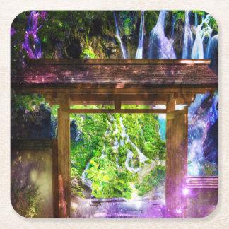 El camino del universo del arco iris al paraíso posavasos cuadrado de papel