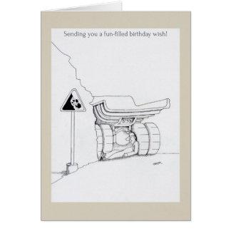 El camionero del feliz cumpleaños carda el dibujo  tarjeta de felicitación