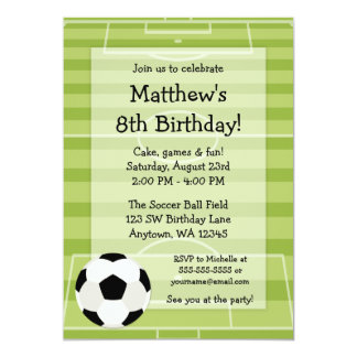 El campo de balón de fútbol embroma a la fiesta de invitación 12,7 x 17,8 cm