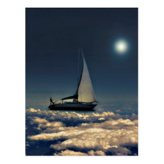El canal de navegación se nubla el collage soñador postal