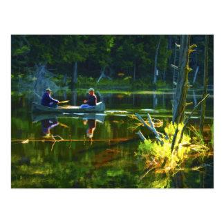 El Canoeing en la postal del Adirondacks