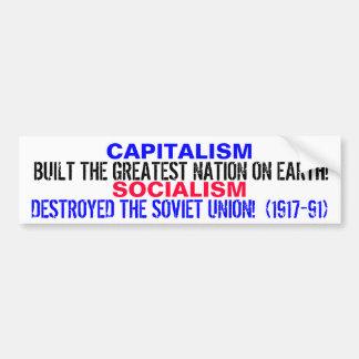 ¡EL CAPITALISMO CONSTRUYÓ LOS E.E.U.U.!  ¡EL SOCIA PEGATINA PARA COCHE