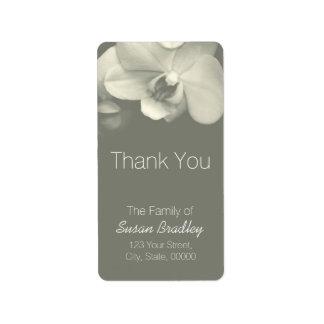 El caqui de la orquídea elegante le agradece la etiquetas de dirección