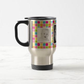 El caramelo brillante colorea 3 fotos cuadradas taza de café