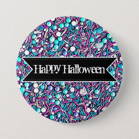 El caramelo colorido del feliz Halloween asperja Chapa Redonda De 7 Cm