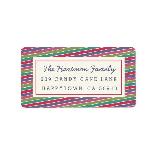 El caramelo multicolor raya etiquetas de dirección