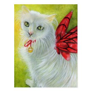 El carmesí del gatito del navidad se va volando la postal