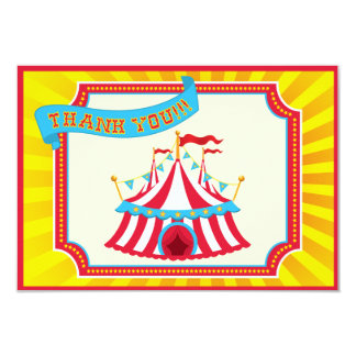 El carnaval o el circo le agradece las tarjetas invitación 8,9 x 12,7 cm