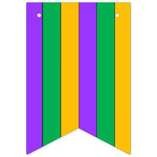 El carnaval raya amarillo verde púrpura del modelo banderines