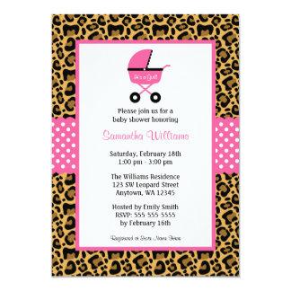 El carro rosado del leopardo puntea la fiesta de invitación 12,7 x 17,8 cm