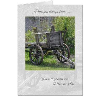 El carro viejo que piensa en usted carda tarjeta de felicitación