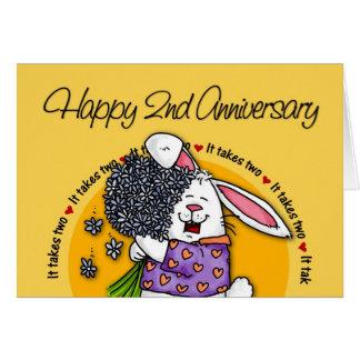 El casarse - 2do aniversario feliz tarjeta de felicitación