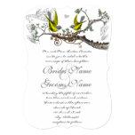 El casarse amarillo y gris de los pájaros del invitación 12,7 x 17,8 cm