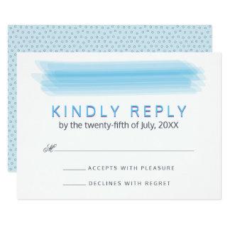 El casarse azul de RSVP de la acuarela del Invitación 8,9 X 12,7 Cm