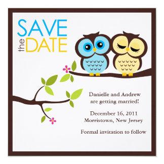 El casarse azul y amarillo de los búhos invitación 13,3 cm x 13,3cm